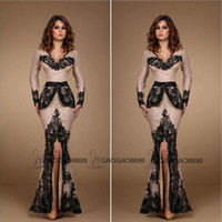 dressing and bandages - 2016 Amazing Nude and Black Lace Applique Split Evening Formal Party Dresses Peplum V neck Mermaid Long Sleeve Arabic Prom Dress