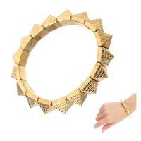 gold spikes - Women Vintage Spike Stud Rivet Bangle Bracelet Stretch Gothic Punk Rock Biker pulseira masculina Bronze Gold Silver J0096