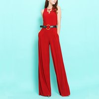 big leg pants - 15 Spring European and American big original single trade Slim thin sleeveless long L wide leg jumpsuit piece pants black and red