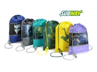 Wholesale 22 cm Subway Drawstring Bags non woven backpack cartoon string backpacks Promotional gift bag Free DHL W813