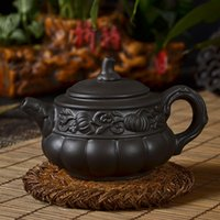 Wholesale Teapot Yi xing purple clay pot kongfu tea set Black pumpkin hand pull kettle new style Xishi pot