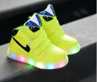 Cheap New 2015 European Cool LED lighted kids sneakers hot sales fashion Spring Auntum children shoes Lovely baby boys girls boots