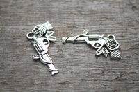 Traditional Charm antique silver roses - 15pcs Gun Charms Antique Tibetan Silver Tone Guns and Roses Charm Pendant x31mm
