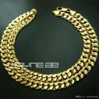 Wholesale 18k yellow gold GF mens womens solid chain Necklace w curb ring link N222
