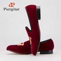 band velvet - Hot selling Men Velvet Loafers Shoes Fashion Men Smoking Slippers Latest Style of Embroidered Gold Crown Design Size