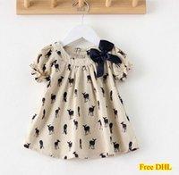 Wholesale 2015 Girls Bowknot T Shirt Kids Tops Short Sleeve Blouse Cute Deer Fawn Pattern Shirt