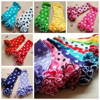 Wholesale Baby Girls Leg Warmers With Cotton Dot Ruffle Kids colors Ruffle Leggings Toddler Knee Pads