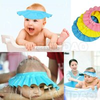 Wholesale Baby Child Kid Shampoo Bath Shower Wash Hair Shield Hat Cap Yellow Pink Blue mix WY58 p