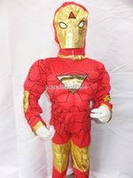 age performance - Kids The avengers Iron Man costumes with muscle for child Fancy dress clothing for ages ironman cosplay Performance costume