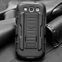Negro Advanced Armor de alto impacto duro híbrido caso cubierta de soporte Holster Robot Combo caso para Samsung Galaxy S3 S III I9300 (Galaxy S3)