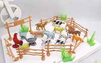 animal fences - 15pcs set Children Education poultry animal family farm feed fence simulation model animal toy Christmas gift