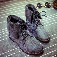 Wholesale 2014 Fashion Women Ankle Flat BootsLace up Snow Boots Platform Pumps keep warm women boots drop shipping