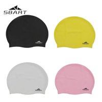 bathing caps for long hair - SBART Waterproof Silicone Variety of Colors Long Hair Ear Protection Bathing Hat Water Sports Swimming Cap for Men Women Adults