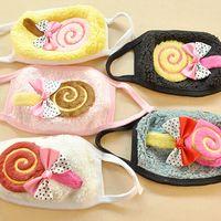 Wholesale 20 Pieces Per Kawaii Cotton Masks Cartoon lollipop with Bow Windproof Face Mask In Winter Autumn Neckerchief Collar