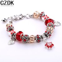 aa sapphire - 4 Colors Silver Plated Bracelet with European Charms Crystal Sapphire DIY Bracelets Women Jewelry cm AA