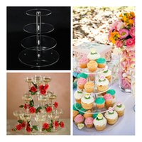 Wholesale NEW Arrival Assemble and Disassemble Round Acrylic Tier Cupcake Cake Stand For Wedding Birthday Party Cake Shop Home order lt no track