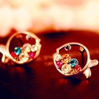 Wholesale 2015 cheap Decoration Luxury Diamond Stud Earrings Hollow Earrings Clown Fish Shape Earring austrian crystal