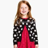 Girl cotton sweater - Girls Cardigan Black Sweater Coat Autumn Girl Dress Children Cardigan Cat Crochet Cardigan Knitted Sweaters Children Clothes Kids Clothing