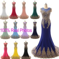 blue prom dresses - Sheer Neck Prom Evening Dresses Lace Embroidery Real Image Red Mint Black Fuchsia Royal Blue Formal Wedding Party Gowns Arabic India