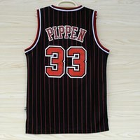 chicago bull - Bulls Scottie Pippen Jersey Shirts Chicago Black Red Striped Men s Sport Clothes Classic Jerseys