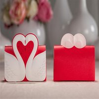 beautiful wedding themes - 30pcs Beautiful Red Print Swan Paper Candy Boxes Chocolate Boxes Red Theme Wedding Favors Box