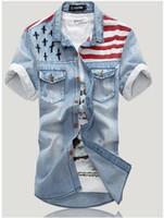 shirts - denim shirt top pop korea style flag vintage denim tops men short sleeve Slim wear white washed denim tide