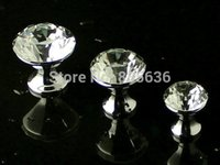 """Cheap 1.2"""" Glass Crystal Knobs   Dresser Knob Drawer Pulls Handles   Kitchen Cabinet Furniture Handle Pull Bling Hardware Silver Clear"""