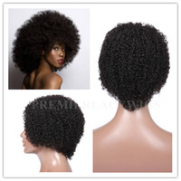 Wholesale Short Afro Curl Wig - Hot In-stock Pretty Afro kinky curl Glueless Cap Mixed Length 1# or#1b Indian Remy human hair regular machine made Short wig Free Shipping