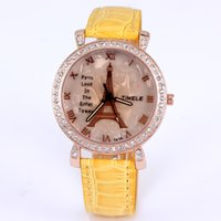 fashion jewelry dropship - New Arrival fashion women watches quartz watch analog leather imitation diamond jewelry eiffel tower casual lady watch dropship