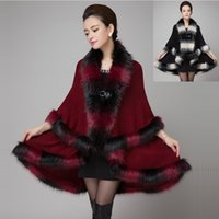 assorted shawls - Fashion Novelty Assorted Color Fox Fur Coat Shawl Cloak Women Wool Cashmere Long Double Overcoat Cape Poncho Winter New