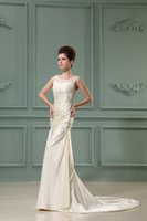 advanced breast - Advanced Customization Jewel Neck Lace Breast Empire Tierd Satin Top Champagne Bridal Gowns Elegant