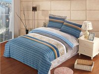 Wholesale 100 Cotton bedclothes blue stripes Quilt Duvet Cover bedding set