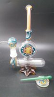 ashtray - Heady Glass Oil Rigs Water Pipes Glass Bongs Bubbler with colored bear moutain base Glass oil dabber and ashtray with mm dome and nail