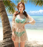 Wholesale bikini beach cover ups Women Sexy Summer Lace Hollow Crochet long sleeve beach wear swimwear swimsuit cover ups Smock colors DHL freeship