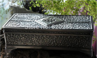 big jewellery box - Pewter Silver plated big size jewellery box metal trinket box zinc alloy casket