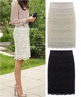 american work apparel - Woman Lace Pencil Skirt American Apparel Office Lady Slim Work Wear Beige Black Skirts Womens Plus size S M L XL XXL XXXL XL XL