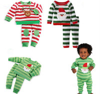 baby boy santa outfit - Christmas Baby Clothes outfit Kids reindeer santa shirt striped pants set suits Baby Girls Boys clothing sets Xmas Occasions DHL
