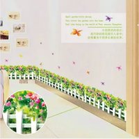 baseboard designs - Removable PVC Decals Art Skirting Line Decorative butterfly orchid Flowers set Inch Wall Stickers For Art Baseboard Decor AY7143