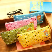 bags colored glass - Hot Sale Cute candy colored glasses girl pencil creative stationery large capacity bag cartoon stationery nici pen bags school