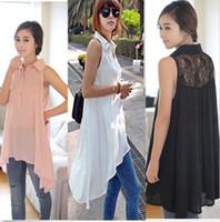 womens black dress shirt - Womens Sleeveless Loose Long Lace T SHIRT TOPS Blouse Dress Shirts Plus Size DH04