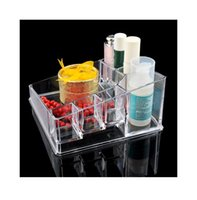 Wholesale Acrylic Clear Cosmetic Organizer Make Up Case Jewelry Lipstick Brush Holder Box EQC357