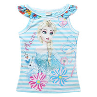frozen tshirt - 3 Color Summer T shirt Frozen fever Elsa striped Sleeveless Top Tees Baby Girls Floral Vest Tshirt Kids Clothing Y C001