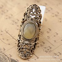 colored rhinestones - Vintage Bronze colored Sapphire Gemstone Ring Charm Punk Stylish Hollow out Long Restoring Ring for Women Nice Gift