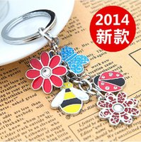 bee keyring - BY DHL New Hot Selling Butterfly Bee Flower Ladybird Keychains Metal Keyrings Gifts for Women