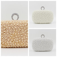 beaded hand bag - Amazing Pillow Full Pearls Crystal Beaded Bridal Wedding Hand Bags Evening Party One Shoulder Clutch Bags For Ladies Prom Party