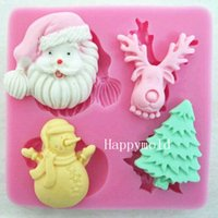 cake decoration - Christmas Claus Tree Deer Snowman Fondant Chocolate Silicone Mold Cupcake Cake Decoration Candy resin Mold L7 cm W7 cm H1 cm