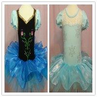 ballet dance costumes - 2015 Girls Kids Dance Dress Frozen Elsa Anna Ballet Tutu Dancewear Dresses Child Lace Cartoon Stage Costumes Children Clothing D3383