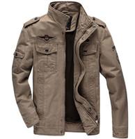 Cheap Casual jacket Men coat Fashion Military Outdoors High quality Stand collar Free shipping 2014 Autumn Plus size Black Khaki green