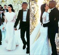 Cheap Kim Kardashian Wedding Dress 2014 Long Sleeve Vestido De Noiva Bridal Gowns Sexy Crew Sheer Mermaid Romantic Lace Court Train Wedding Dress