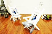 Cheap Mediterranean Style White Fishnet Shell Fish Decorated Wooden Beach Chair Photo Frame With Name Card Holder Home Decoration